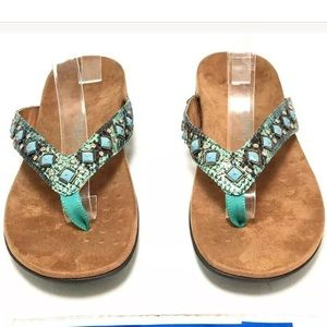 Vionic Floriana Teal Snake Studded Thong Sandals